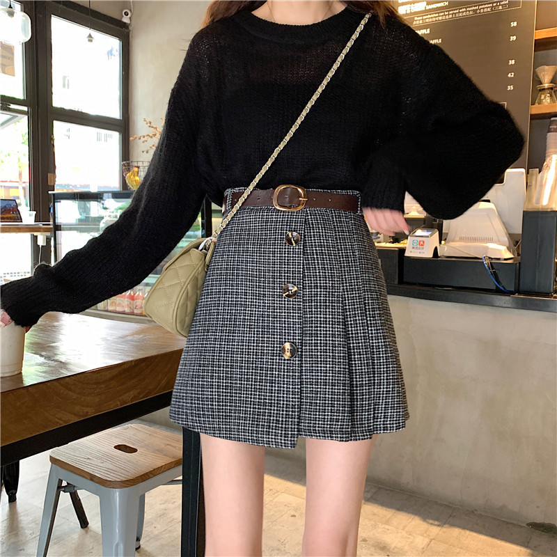 Fox Mrs. Autumn And Winter Thick Small Anti-Exposure Woolen Cloth Short Skirt Women's Fashion Single Breasted Skirt With Belt