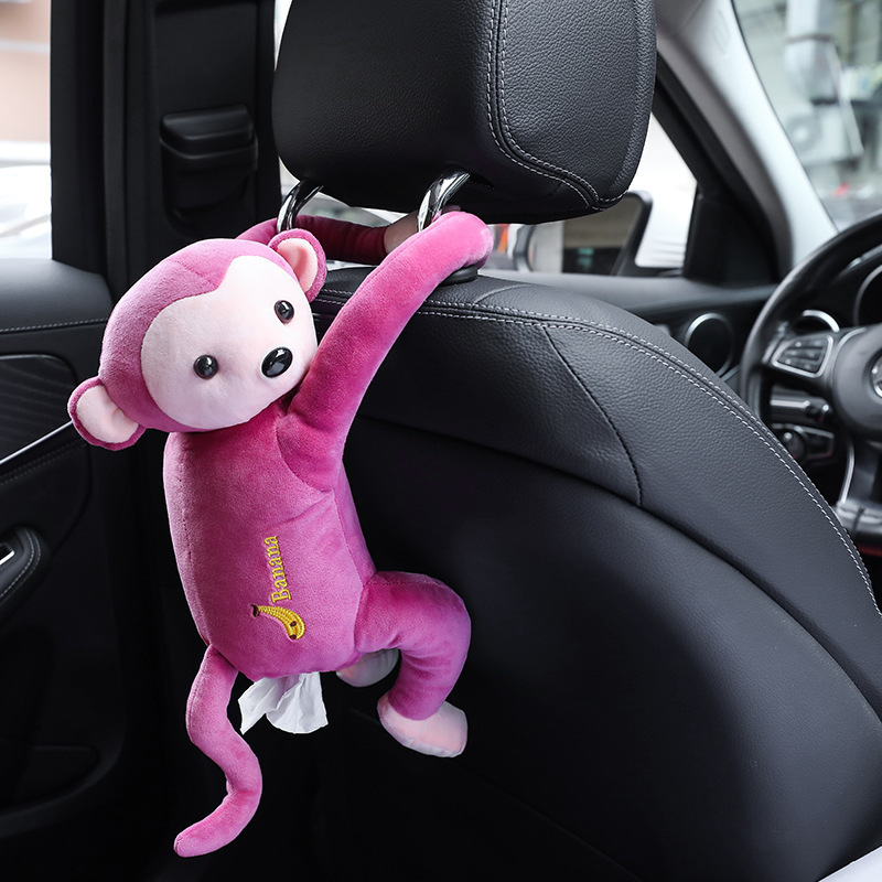 Car Plush Cartoon Monkey Butt Tissue Box Cover Cute Animal Tissue Napkin Paper Organizer Paper Storage Automobile Accessories