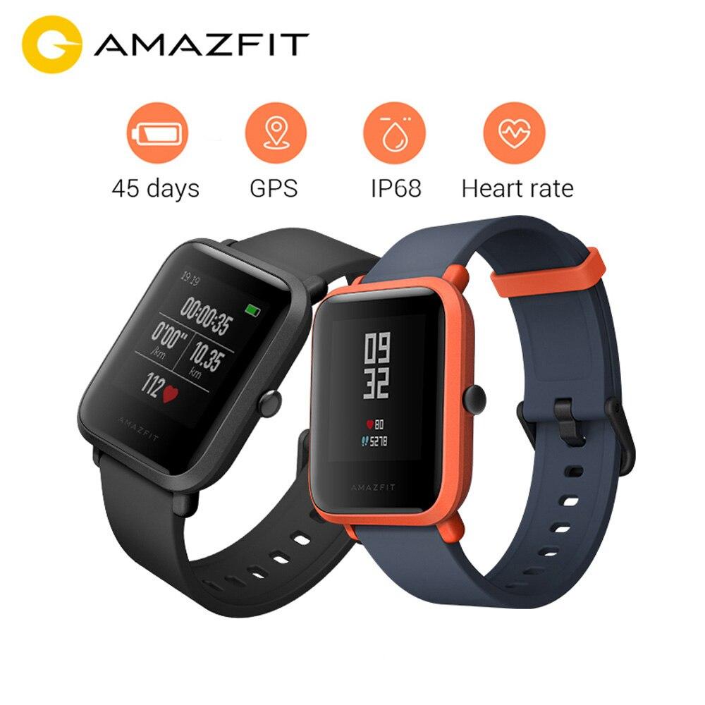 Versão internacional huami amazfit bip relógio inteligente gps gloness smartwatch 45 dias de espera