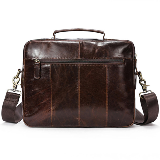 Genuine Leather Laptop Bag For Men Briefcase With Top-handle Bag Crossbody Bag