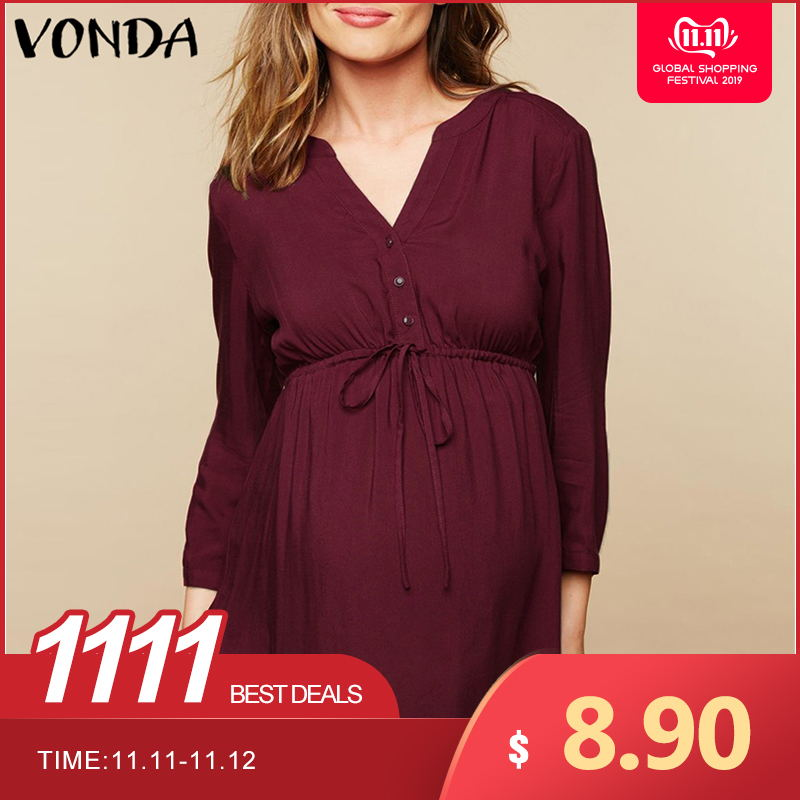 VONDA Women Blouse Shirt 2019 Autumn Casual Pregnant Blusas Tops Sexy V Neck Full Sleeve High Waist Plus Size Maternity Pullover