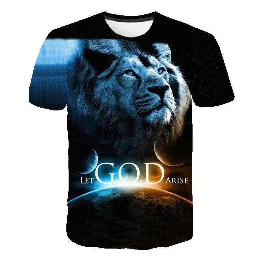 2020 Summer Hot New Design Men T Shirts 3D Lion Print LET GOD ARISE Tops Men Short Sleeve Fashion Black T-Shirt Plus Size S~6XL