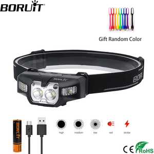BORUiT B30 LED IR Motion Sensor Mini Headlamp 2 * XP - G2 + 2 * 3030 Red 5-Mode Headlight Rechargeable Head Torch Hunting Light(China)