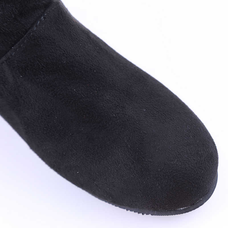 2019 Autumn Winter Women Boots Mid-Calf Martin Boots Brand Fashion Female Stretch Cotton Fabric Slip-on Boots Flat Shoes Woman