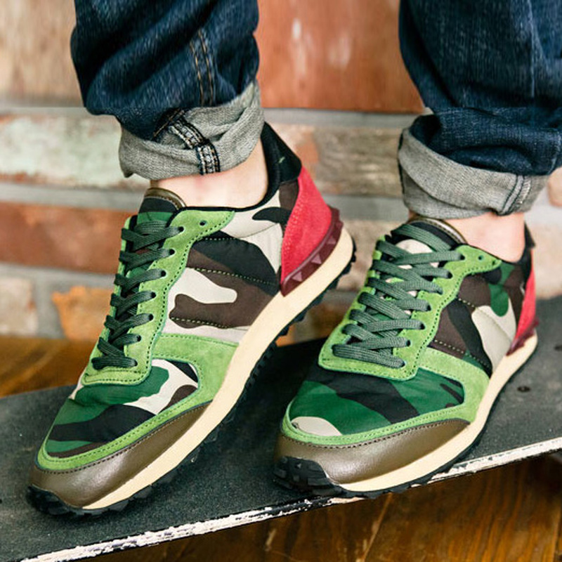 Mens Camo Lace Up Flats Sneakers Sport Shoes Casual Camouflage Breathable Shoes Unisex 4Styles C312