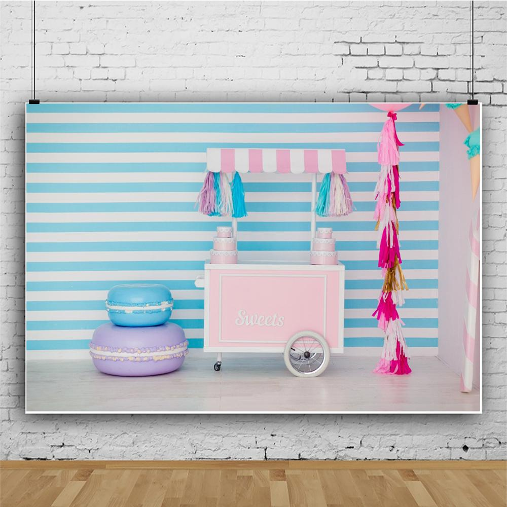 Image 4 - Laeacco wózek na lody fotografia tło ciasto cukierkowy dom dziecko dzieci portret scena fotograficzne tła Photo StudioTło   -
