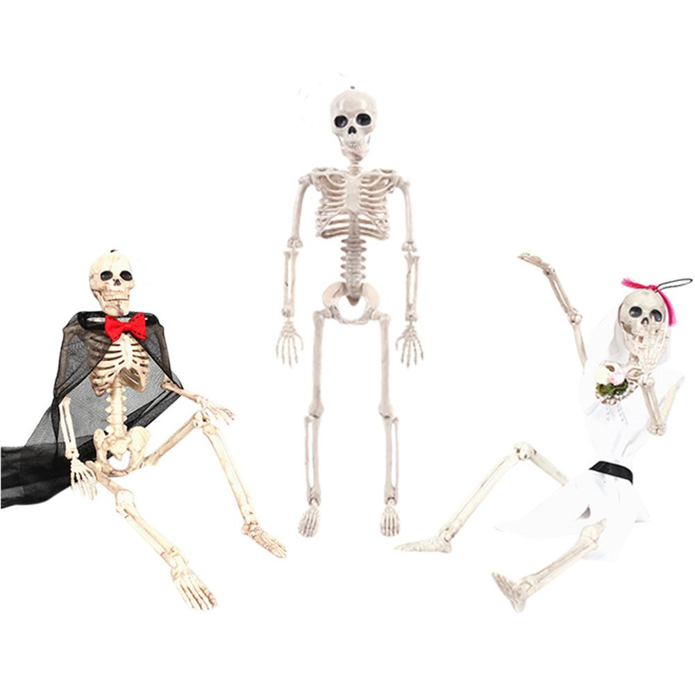 2019 New ABS <font><b>Poseable</b></font> Human Bride groom <font><b>Skeleton</b></font> Figure with Movable Joints Haunted House Props for Halloween Party Decoration image