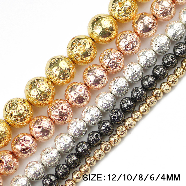 Metallicl lava stone beads 20