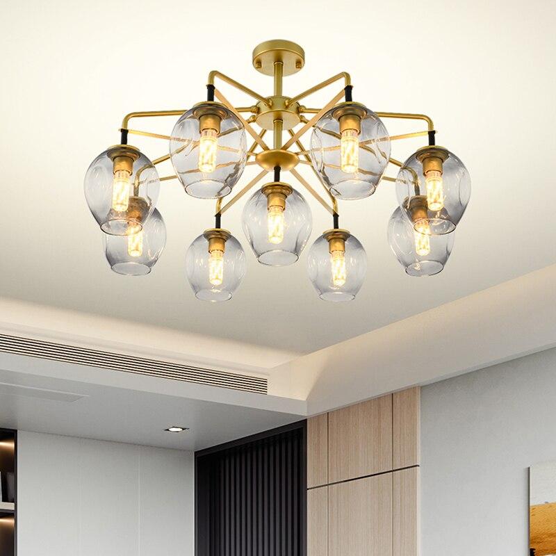 Magic bean golden chandelier molecular lamp living room bedroom glass chandelier LED E27 chandelier lighting