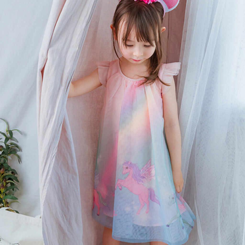 2020 חדש קיץ ילדה בגדי Ruched קשת הדפסת טול נסיכת שמלות פעוטות בייבי ילדים תלבושות אופנה מתוק שמלה