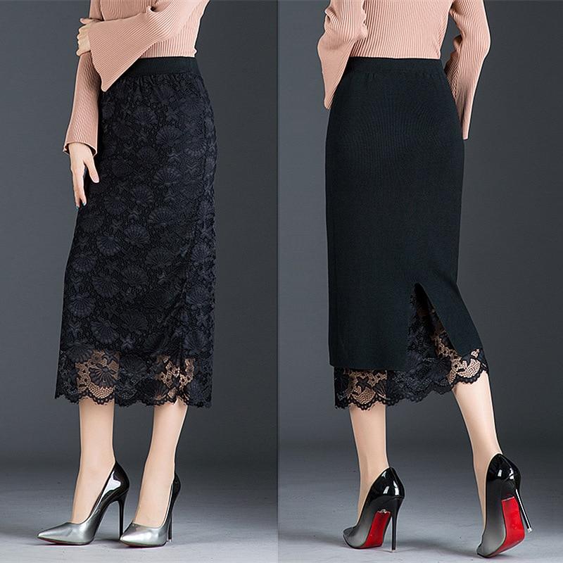Autumn And Winter Skirt Long Section Jupe Femme Two Sides Wearing Lace Midi Skirt Split Bag Hip Skirt Wool Winter Skirt