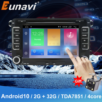 Eunavi 2Din 7''Android10 Car DVD Multimedia Player For VW Passat CC Polo GOLF 5 6 Touran EOS T5 Sharan Jetta Tiguan Autoradio image