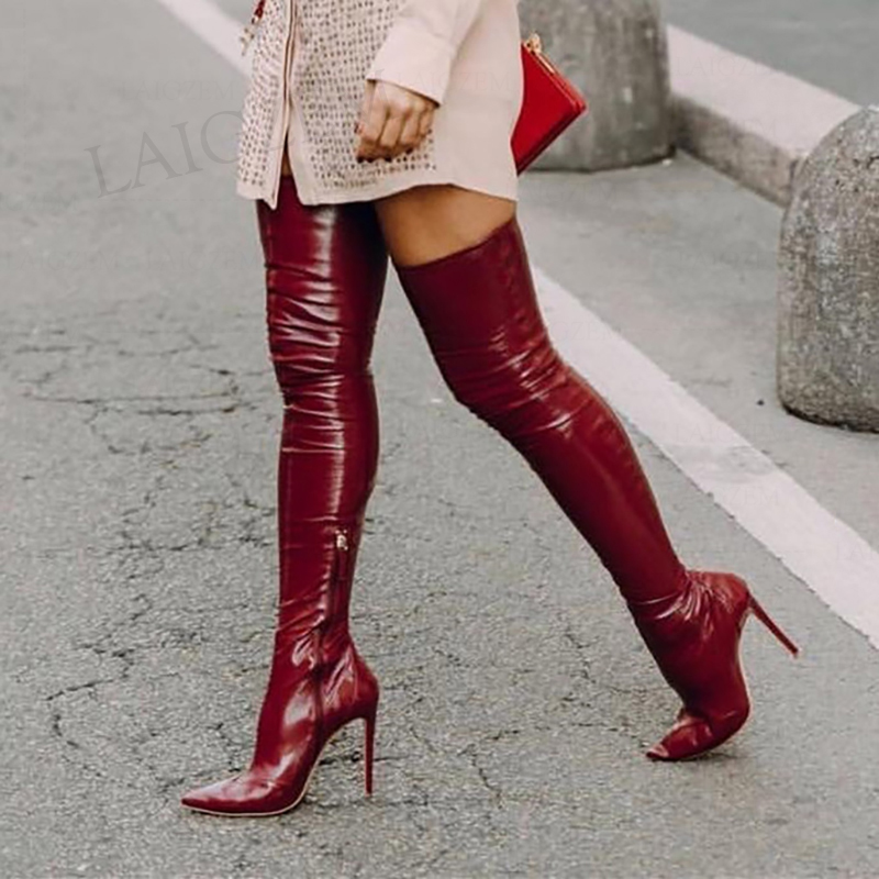 SEIIHEM Women Thigh High Boots Latex Stretchy High Heels Over Knee Boots Ladies Shoes Woman Dicke Stiefel Bottes Size 43 44 47