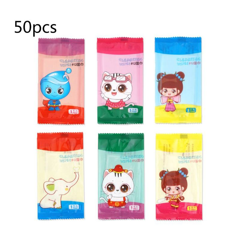 50Pcs/Set Disposable Restaurant Internet Bar Dining Non-Woven Wet Wipes Tissue Towel Cute Cartoon Logo Individually Wrapped Port