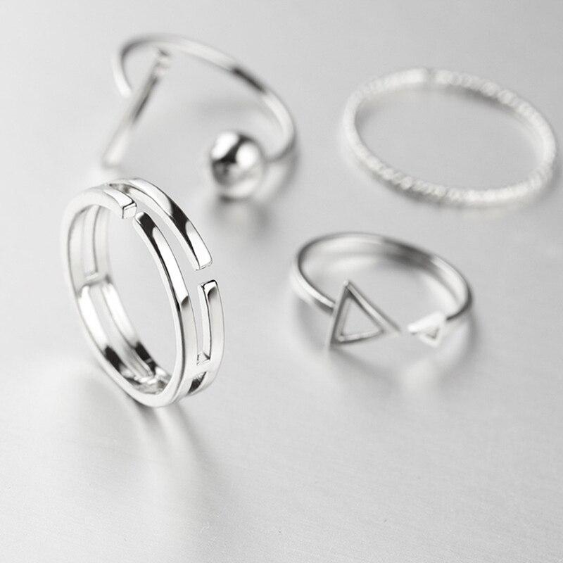 2021 Trend Fashion 4 Pcs/Set Korean Style Rings Simple Joker Metal Finger Ring Silver Color Adjustable For Women Gift Ring set