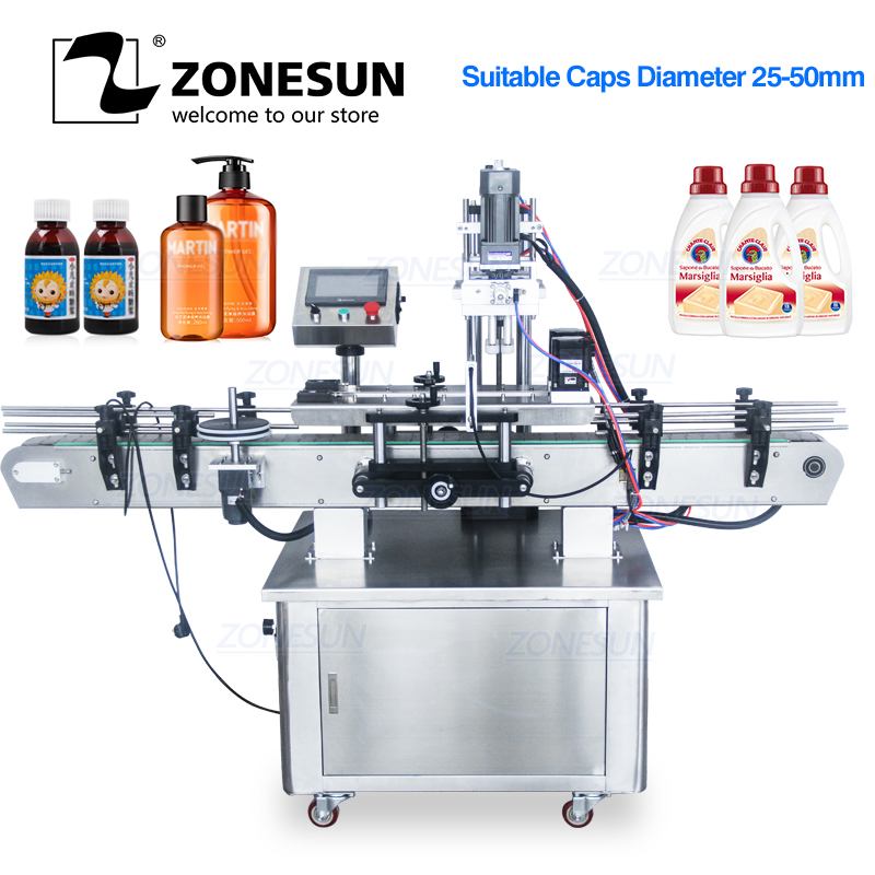 Zonesun Automatische Elektrische Plastic Glas Kristal Alcohol Waterstofperoxide Shampoo Cosmetische Nagellak Fles Capping Machine