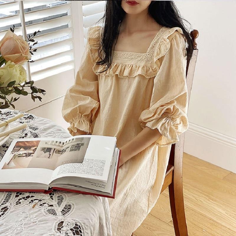 Sweet Soft Cotton Women's Long Nightgowns Princess Lace Embroidery Long Sleeve Sleepwear Spring Autumn Homewear
