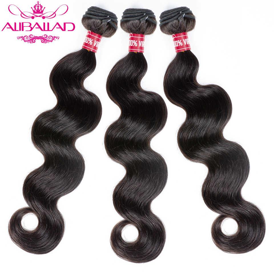 Aliballad extensiones de pelo ondulado brasileño onda del cuerpo 8 a 28 pulgadas 1 pieza extensiones de cabello Remy Color Natural 100% extensiones de cabello humano