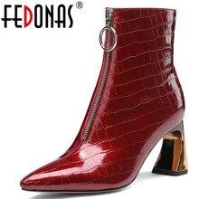 FEDONAS yeni varış hakiki deri fermuar garip topuklar parti gece kulübü ayakkabı kadın 2020 kış büyük boy kadın yarım çizmeler