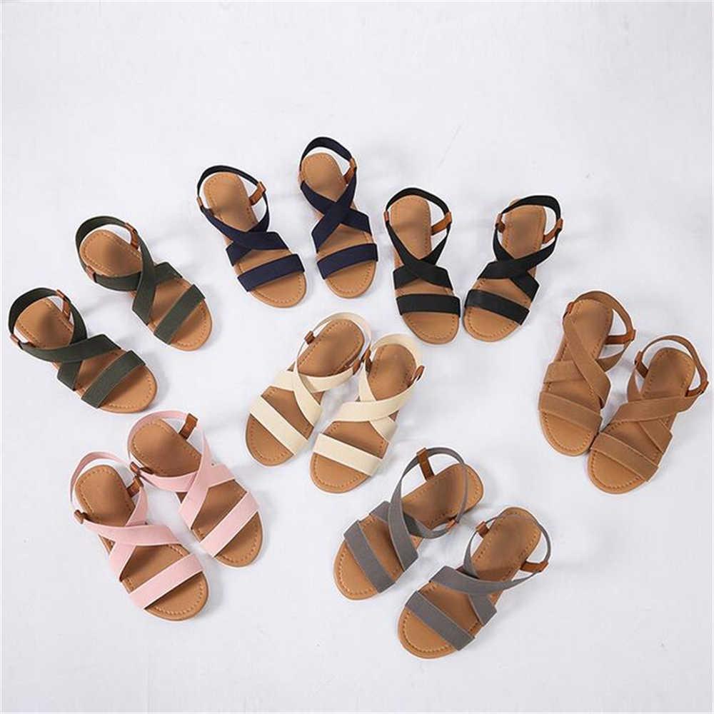 2019 נשים של סנדלי אביב קיץ גבירותיי נעליים נמוך העקב אנטי החלקת חוף נעלי ציוץ הבוהן מזדמן הליכה שטוח sandalias נקבה