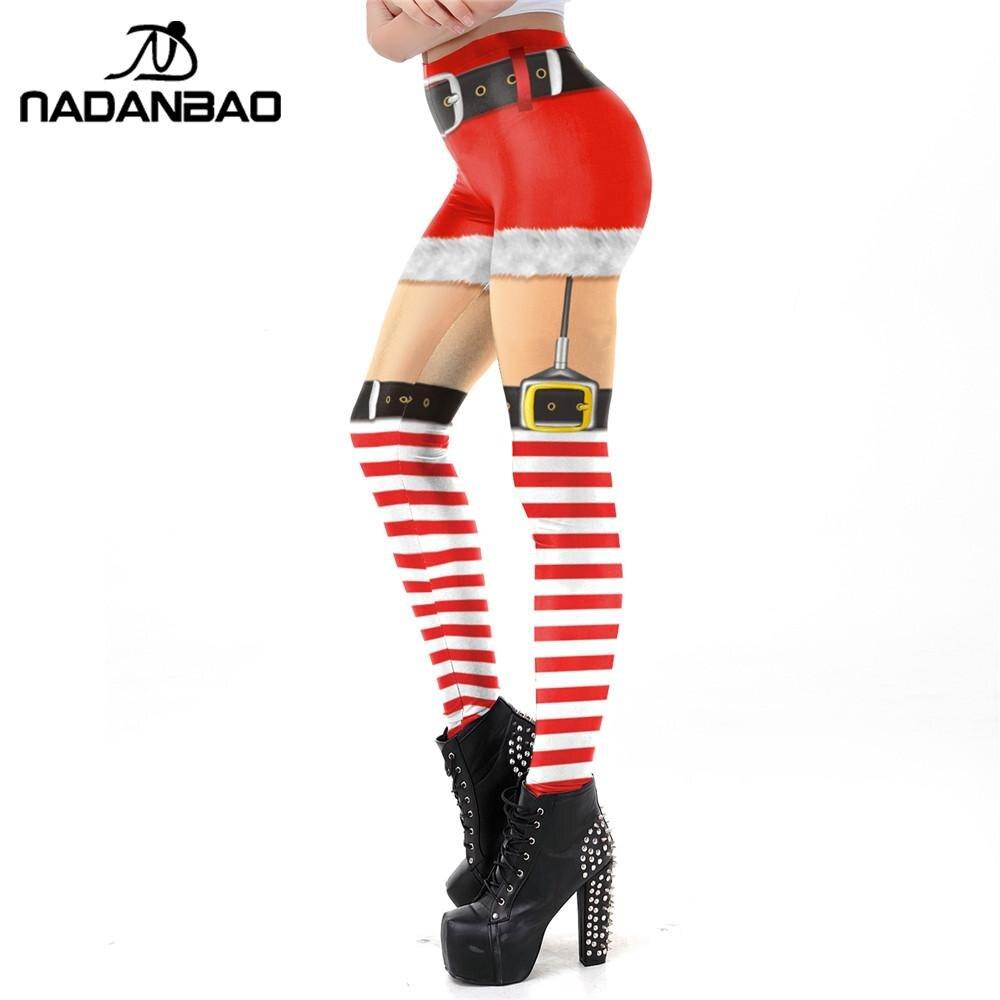 NADANBAO Christmas Elf Leggings For Women Carnaval Costume Belts Bulb Printed Pants Leggins Festival Gifts