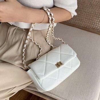 Chain Design PU Leather Crossbody Bags For Women 2020 Summer Fashion Solid Color Shoulder Handbags Female Travel Cross Body Bag