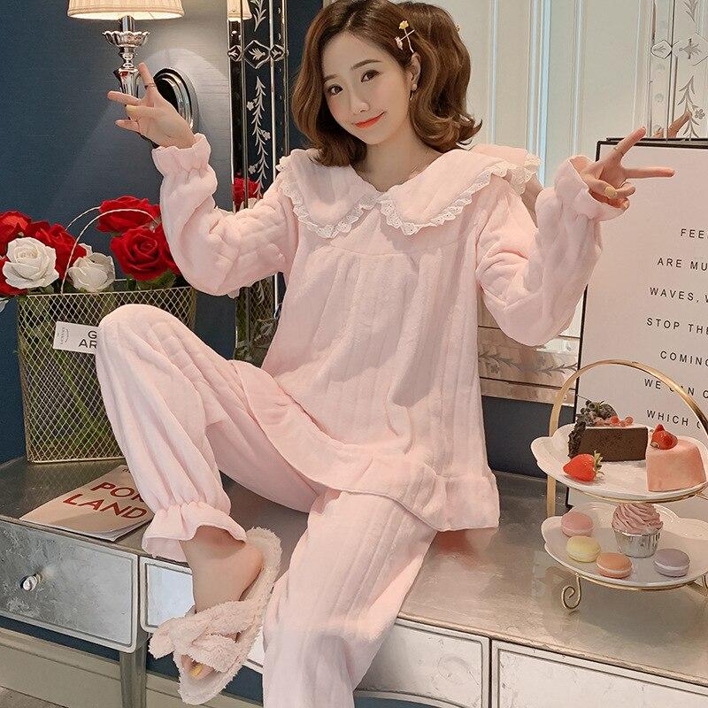2019 Autumn Winter Women Flannel Pajama Sets Bowknot Cartoon Thick Warm Pyjama Sleepwear Cute Animal Lace Nightwear Pijama