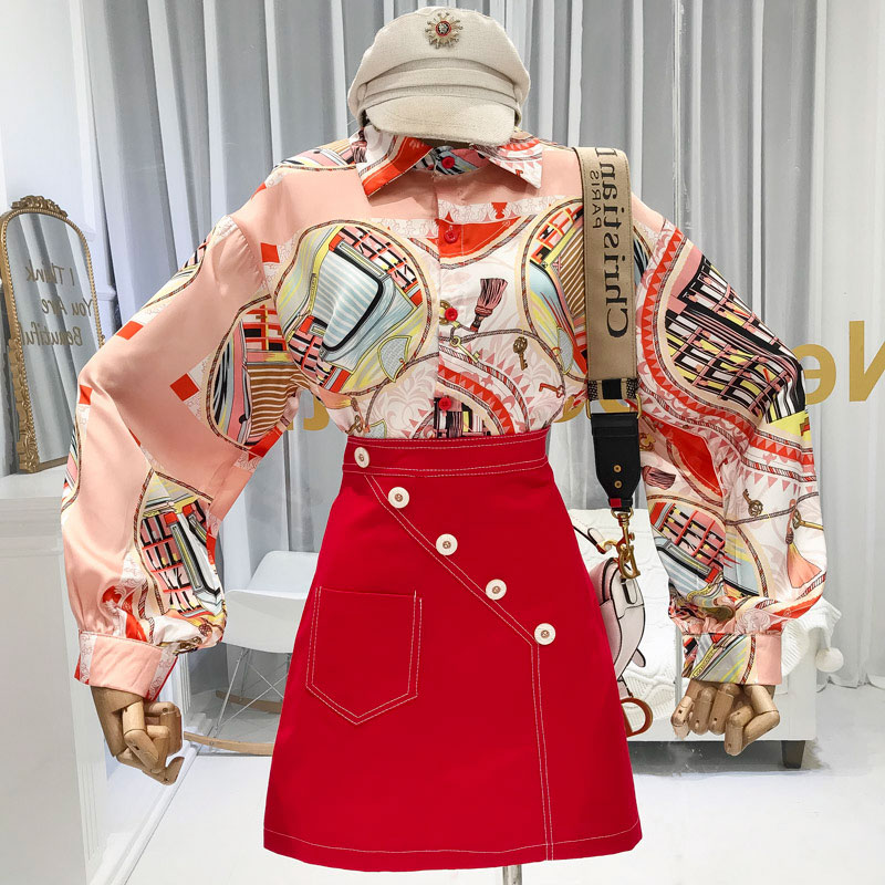 Spring Autumn Women Retro Vintage Floral Print Long LanterN Sleeve Blouses Shirts Tops Clothing Set AnD Skirt Suits Set NS1003