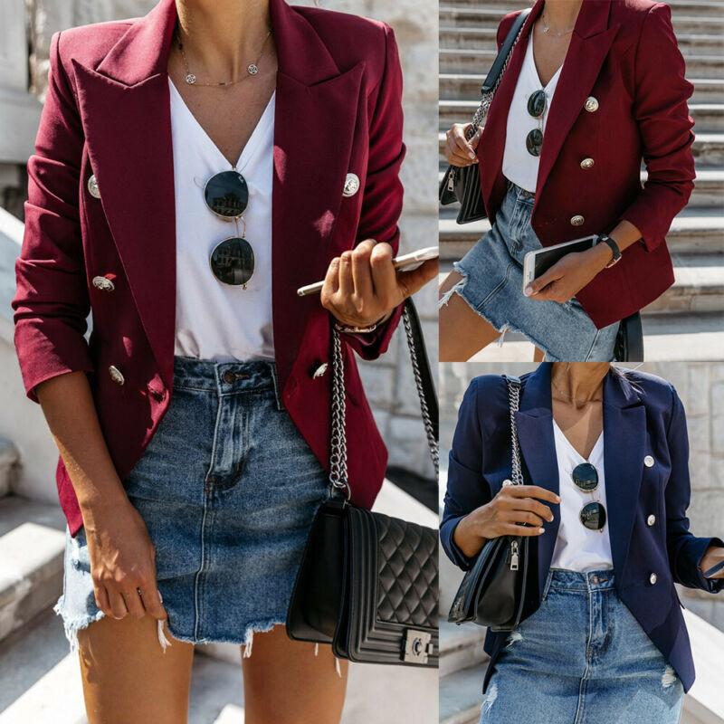 Women Casual Blazer OL Career Chic Coat Work Solid Slim Suit Jacket Tops Outwear