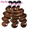 Klaiyi Brazilian Hair Highlight Body Wave Bundles Ombre Brown Remy Human Hair Extension 8-30 Inch Weave Thick Hair Bundles Deals