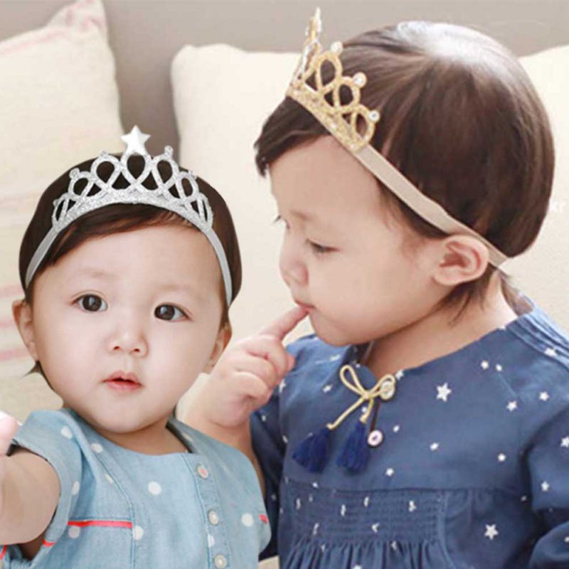 Baby Hair Accessories Girls Elastic Headband Children Hair Band Infant Princess Gold And Silver Crown Hairwear Gifts For Kids