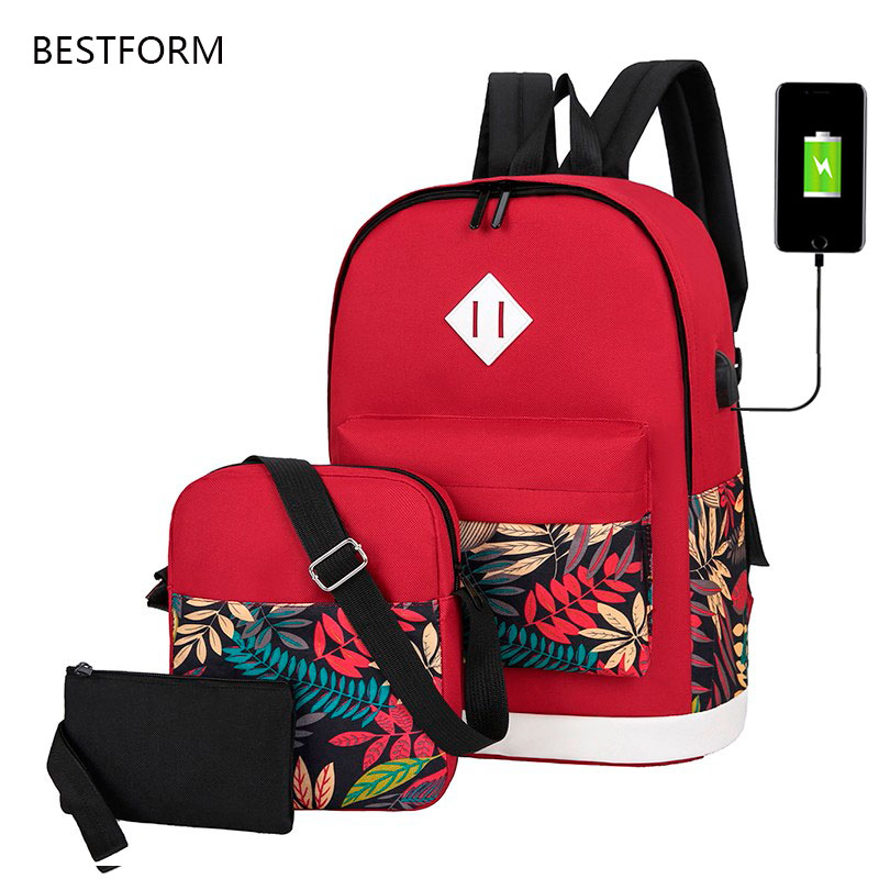 3 Pieces Set Nylon Printing Backpack USB Charging Laptop Backpack Women Computer Bags 2020 Travel Bagpack Female Channels Bag