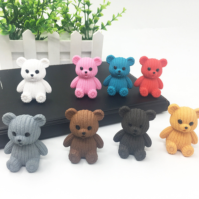 8 Colors Mini Cute Resin Bear Cartoon Animal Bear Model Figure Toy Collection Doll Toy Gift For Figurines Home Decor