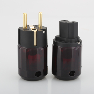 Image 2 - Free Shipping 1Pair P 079E+C079 AC power cable plugs 24k Gold Plated SCHUKO Power Plug