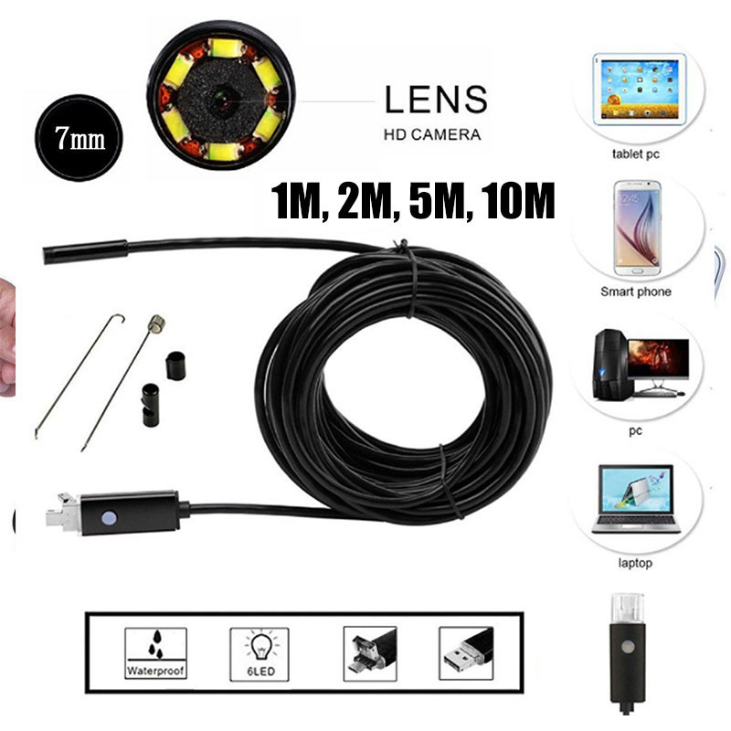 2 In 1 Handheld Endoscope Ear Spoon Borescope 7mm 6led 30W Monitoring Photos Real-Time Video Mobile Phones Computers