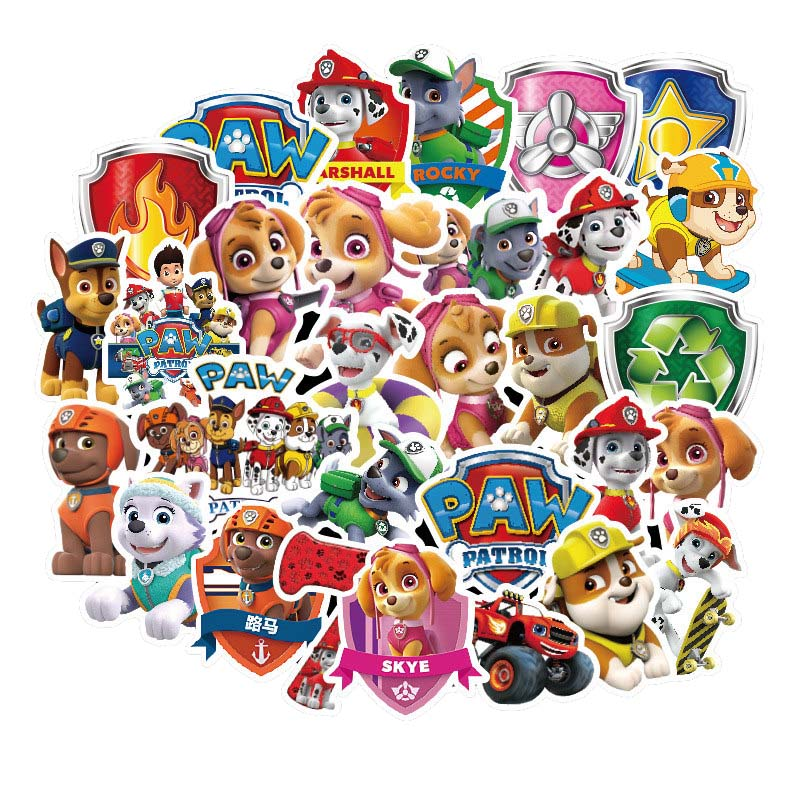 50pcs Dog PAW Patrol Stickers PVC Graffiti Stickers Travel Case Luggage Car Stickers Waterproof