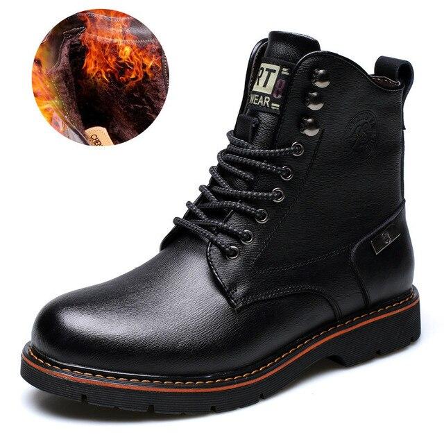 Натуральная шерсть мужские зимние сапоги Размеры 38 ~ 44 ботинки из натуральной кожи в русском Стиль мужские зимние сапоги