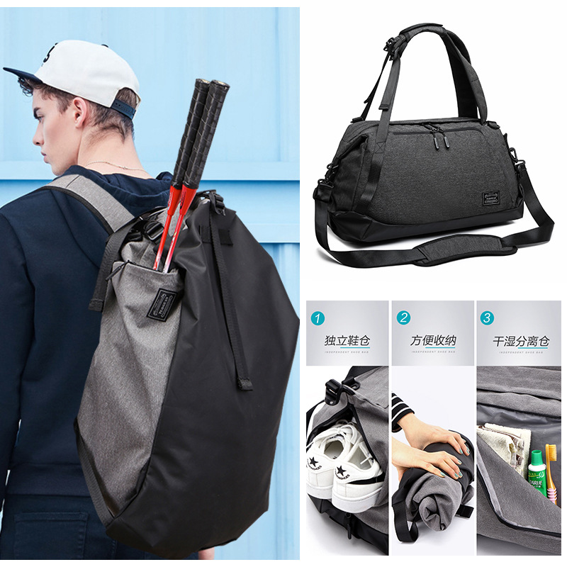 Multifunction Large Capacity Men Travel Fitness Sports Bag Backpack Handbag for Trip Travel Suit Storage with Shoes Pouch 1816 (7)
