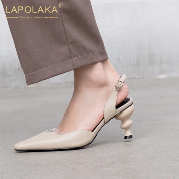 Lapolaka 2020 New Fashion Genuine Cow Leather Strange Style Black Shoes Woman Sandals Buckle Strap Fashion Summer Sandals