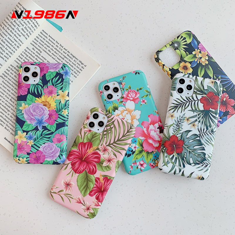 N1986N Colorful Floral Cases For iphone 11Pro Max X XR XS Max 6 6s 7 8 Plus SE 2020 Plants Banana Leaves Phone Case For iphone X