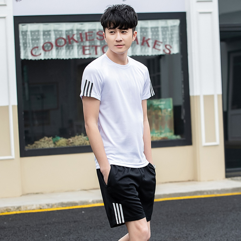 Men's Couples Short Sleeve Set Casual Stripes T-shirt Shorts Women's Supply Of Goods Free