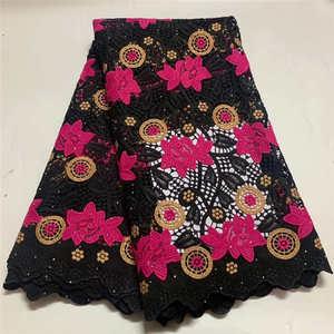 Оптовая и розничная торговля 2020 последние популярные африканские гипюровые кружева с тяжелыми камнями ткань для вечерние платья розовый ч...