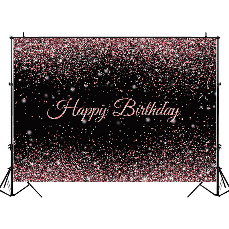 Rose Gold Pink Birthday Party Backdrop Black Glitter Shiny Photography Background Birthday Party Decoration Banner Photo Booth
