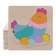 Child Wooden Toys Wooden Cute Animal Puzzles Kids Memory Training Jigsaw Puzzle Early Education Learning Toys for Children
