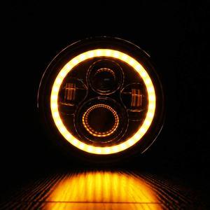 Image 5 - 2Psc 7 Inch LED Headlight H4 Hi Lo With Halo Angel Eyes For Lada 4x4 urban Niva Jeep JK Land rover defender Hummer