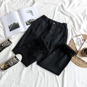 Image 3 - ג ינס נשים גבוהה אלסטי מותניים שחור רופף ישר נשים מכנסיים יוניסקס כל התאמה מקרית Harajuku נשים שיק יומי BF ג ינס