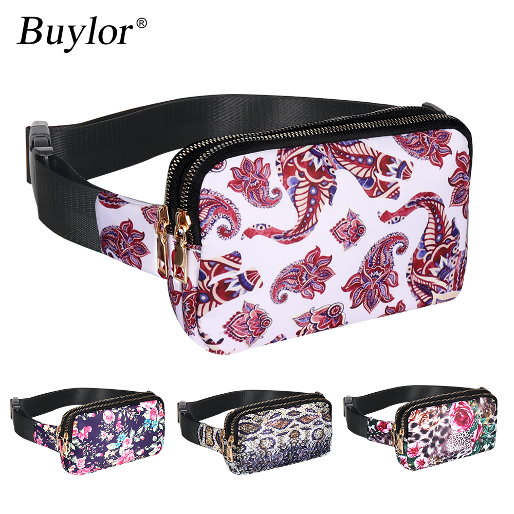 Buylor Waist Purse Women Fashion Fanny Pack Waist Bag Hot Hip Bag Bum Bag Waterproof Belt Pack Chest Bag Flower Phone Pounch
