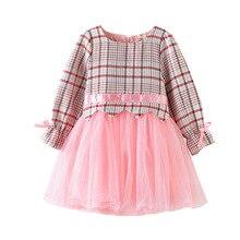 Kids dresses for girls long sleeve autumn princess Girls Autumn Dress  2019 New Lattice Long Sleeve fashion little clothing