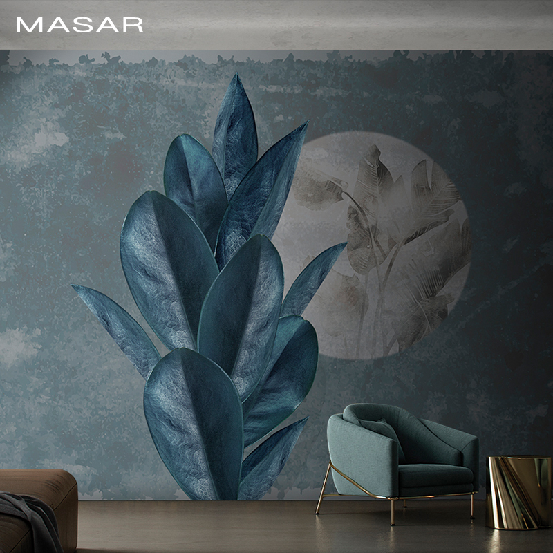 MASAR Large Plant Dark Blue Leaf Mural Living Room Dining Hall Hallway Bedroom Background Wall Wallpaper The Image