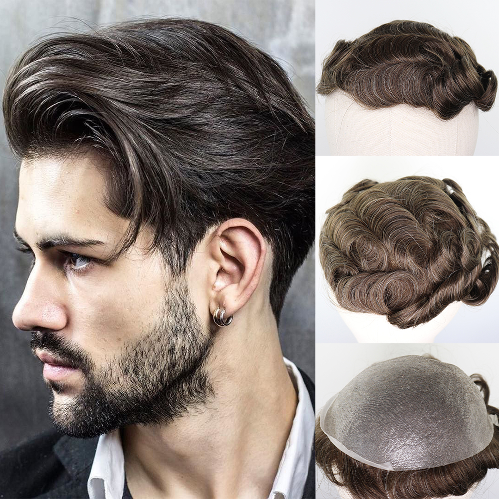 YY Wigs For Men Brown Mixed Grey Remy Human Hair #610 Highlight Skin Pu Thin Pu Replacement System Hairpieces Man Toupee  Hombre